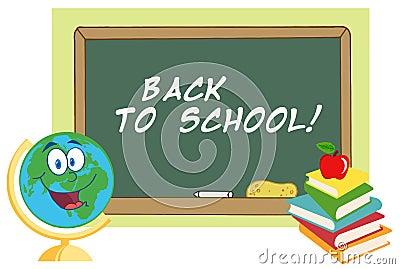 Happy desk globe by a back to school chalk board