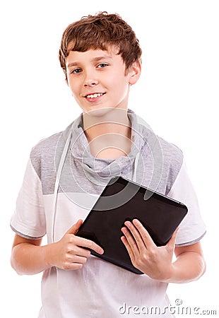 Happy digital tablet computer teen