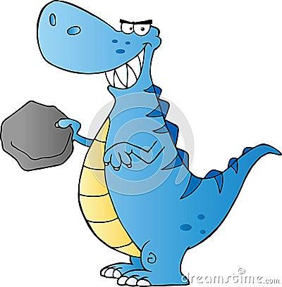 Blue tyrannosaurus rex holding a boulder mr no pr no 2 908 2