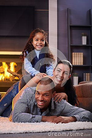 Happy diverse family at home