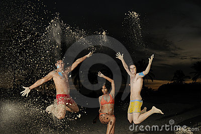 Happy diverse group jumping