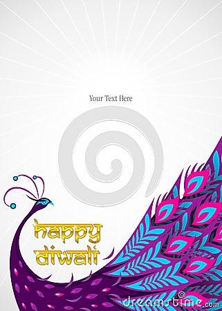 Happy diwali peacock border
