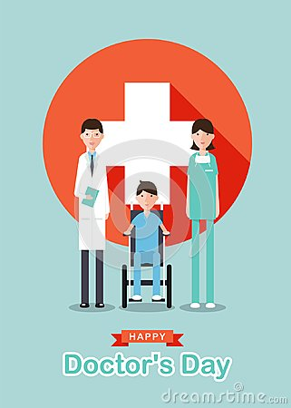 Free Happy Doctor`s Day With Cartoon Doctor Men , Doctor Women ,Patient On Wheelchair And White Cross Plus In Red Circle Sign Vector D Stock Photo - 108030760