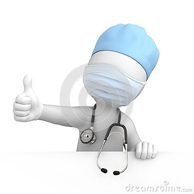 Happy doctor with thumb up