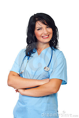 Happy doctor woman with arms folded