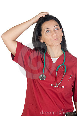 Happy doctor woman with burgundy clothing thinking