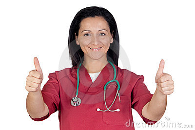 Happy doctor woman saying OK