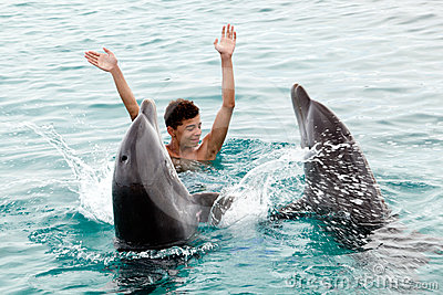 Happy with the dolphins
