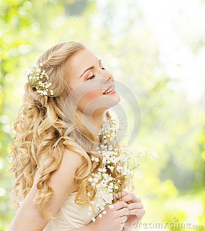 Free Happy Dreaming Woman, Young Girl With Flower, Closed Eyes Royalty Free Stock Photos - 53142738