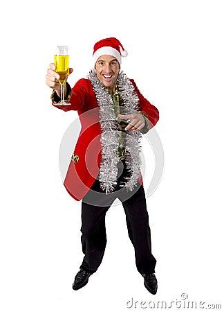 Free Happy Drunk Rake Senior Businessman In Champagne Christmas Toast Party At Work Wearing Santa Hat Stock Photo - 47702600