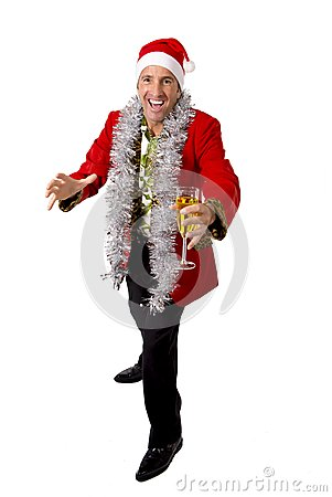 Free Happy Drunk Rake Senior Businessman In Champagne Christmas Toast Party At Work Wearing Santa Hat Royalty Free Stock Photography - 47702627