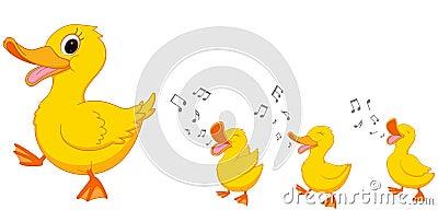 Happy Duck family cartoon Vector Illustration