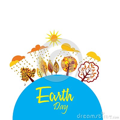Happy Earth Day with world and tree - Vector Vector Illustration