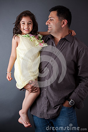 Free Happy East Indian Man With His Daughter Stock Images - 28714944