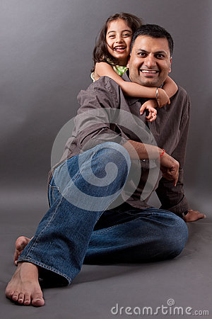 Free Happy East Indian Man With His Daughter Royalty Free Stock Image - 28729916