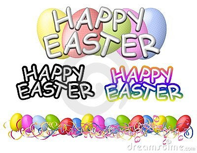 Happy Easter Banners Logos and Border