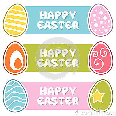 Happy Easter Banners with Retro Eggs
