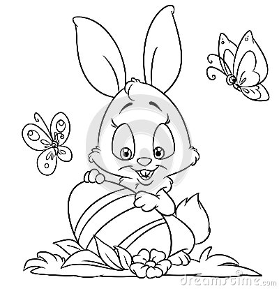 happybunny coloring pages | Happy Easter Bunny Coloring Pages Stock Illustration ...