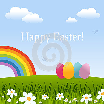 Happy Easter Card with Eggs & Rainbow