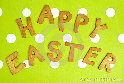 Happy Easter Card On green fabric