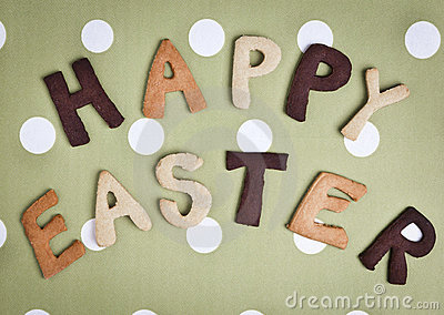 Happy Easter Card On grey green fabric