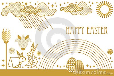 Happy Easter card with hare, blooming spring flowers, rainbow, sun, clouds and ornate eggs. Vector Illustration