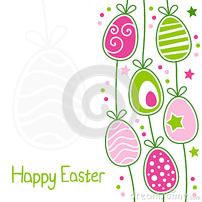 Happy Easter Card with Retro Eggs
