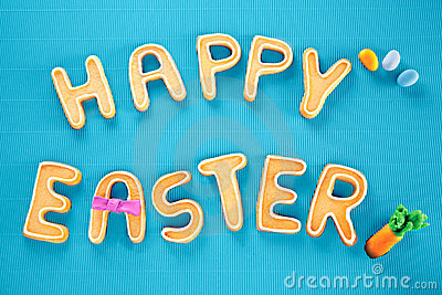 Happy Easter Card On Textured Turquoise