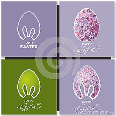 Free Happy Easter Cards Set With Bunny Ears Royalty Free Stock Image - 69782356