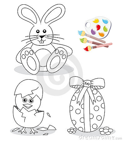 Happy easter coloring book sketches