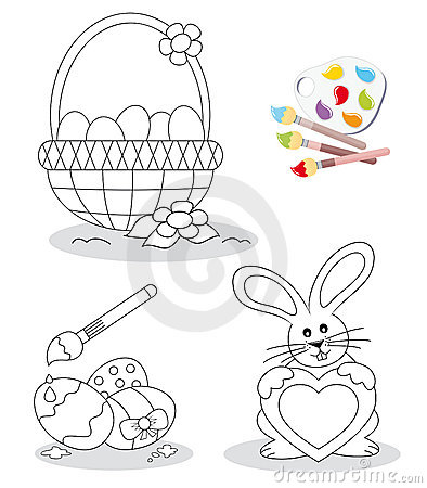 Free Happy Easter Coloring Book Sketches Royalty Free Stock Image - 19243286