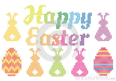 Happy Easter Cross Happy easter cross stitch,