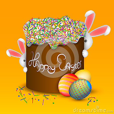 Happy easter. Easter cake and eggs. Funny rabbits Stock Photo