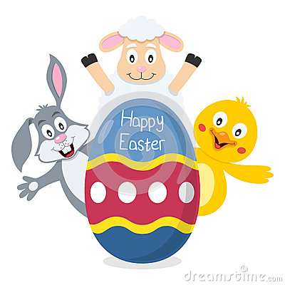 Happy Easter Egg with Animals
