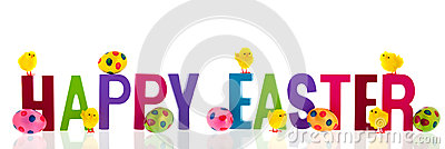 Happy easter with eggs and chicks Stock Photo