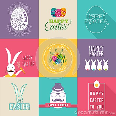 Free Happy Easter Flat Design Labels Set Stock Image - 50467081