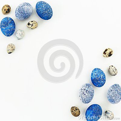 Free Happy Easter. Frame With Blue Speckled Easter Eggs And Quail Eggs With Copy Space On White Background. Flat Lay, Top View Royalty Free Stock Photos - 109418608