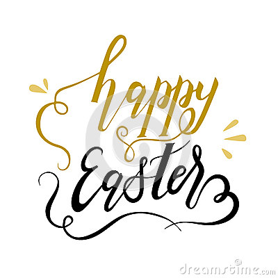 Happy easter gold and black lettering Cartoon Illustration