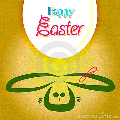 Happy easter greeting card,  bunny eggs