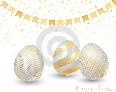 Happy Easter greeting card with golden eggs Vector Illustration