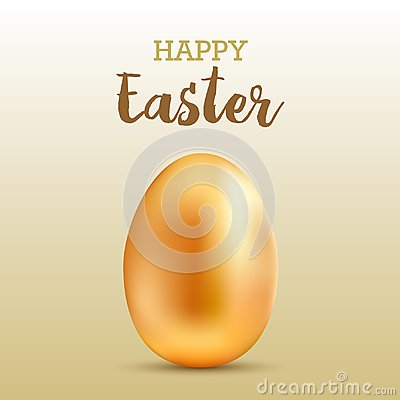Happy Easter greeting card with realistic gold egg. Vector. Vector Illustration