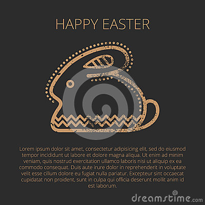 Happy Easter Greeting Card Template With Easter Rabbit Stock