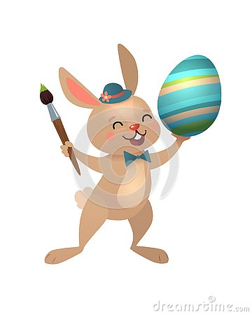 Free Happy Easter Greeting Card With Egg And Bunny. Brown Cute Easter Bunny With Brush And Colorful Egg. Vector Illustration Stock Images - 144698064