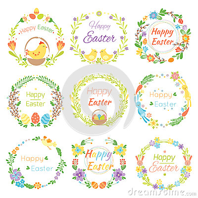 Happy easter hand drawn badge with hand lettering greeting decoration element and natural wreath handmade style vintage Vector Illustration