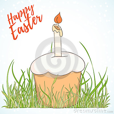 Happy Easter hand drawn retro card Vector Illustration