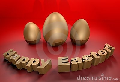 Happy Easter holidays greetings card in 3D