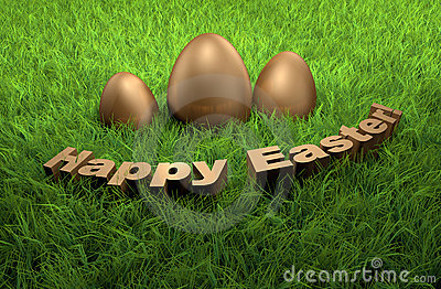 Happy Easter holidays greetings card 3D on grass