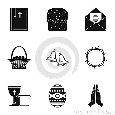 Happy Easter icon set, simple style Vector Illustration