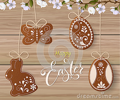 Happy Easter lettering, Gingerbread in the form of eggs. Spring holidays, Easter background Vector Illustration