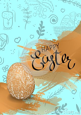 Happy Easter lettering handdrown background with realistic eggs. Vector Illustration